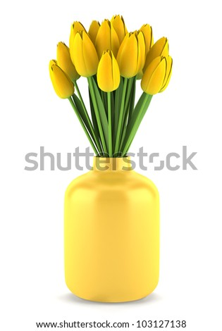 bouquet of yellow tulips in vase isolated on white background - stock photo