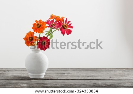 Bouquet of zinnia flowers - stock photo