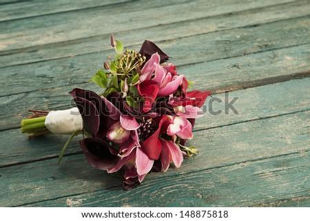 bouquet on the floor - stock photo