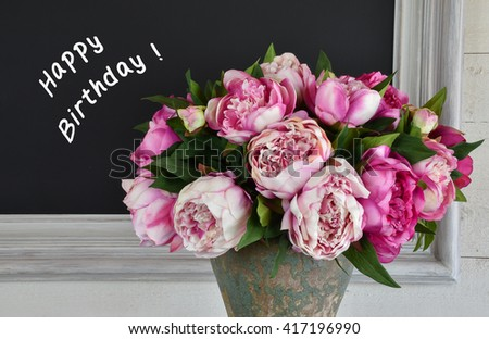 Bouquet Pink Peony Flowers Frame With Chalk Board And Written Happy Birthday Text