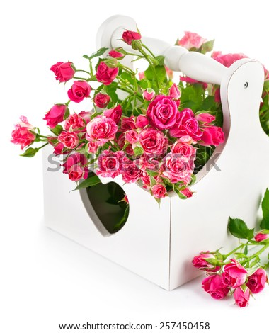 bouquet pink roses in wooden basket isolated on white background - stock photo