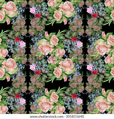 Bouquet roses, watercolor, pattern seamless