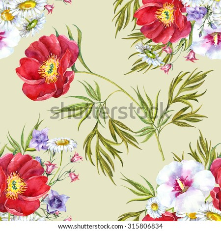 Bouquet summer flowers, watercolor, pattern seamless - stock photo