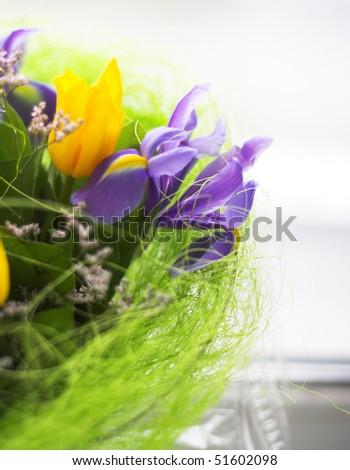 Bouquet. Violet irises and yellow tulips. Macro. - stock photo