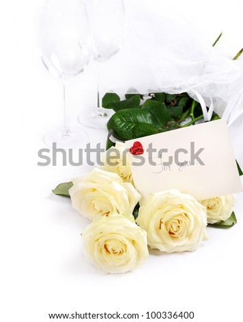 """Bouquet white roses and card with inscription """"for you.."""" over white background - stock photo"""