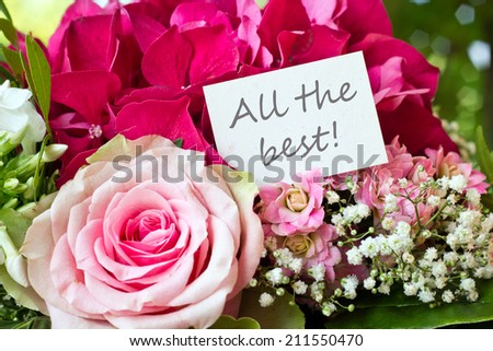 Bouquet with pink rose and lettering all the best/all the best/english - stock photo