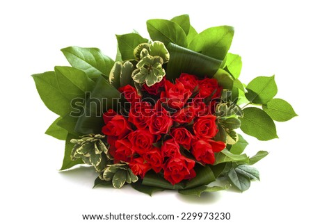 Bouquet with red roses isolated over white - stock photo