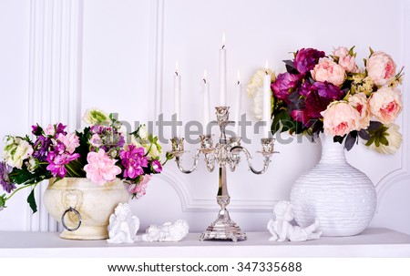 bouquets vase candlestick candles fire cupids white - stock photo