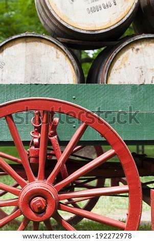 Bourbon barrels - stock photo