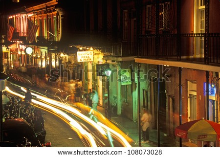 Bourbon Street at Night, New Orleans, Louisiana - stock photo