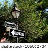 Bourbon Street Sign And Lamp Post In New Orleans French Quarter - stock photo