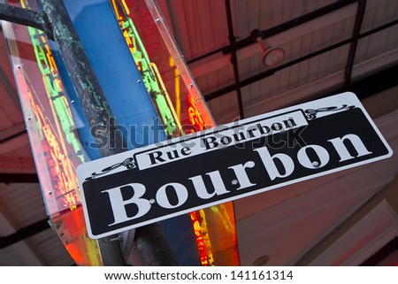 Bourbon Street sign and neon in the French Quarter of New Orleans, Louisiana