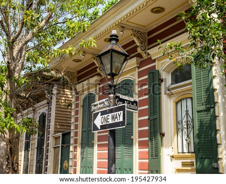 Bourbon street sign in the French Quarter in New Orleans, Louisiana. - stock photo