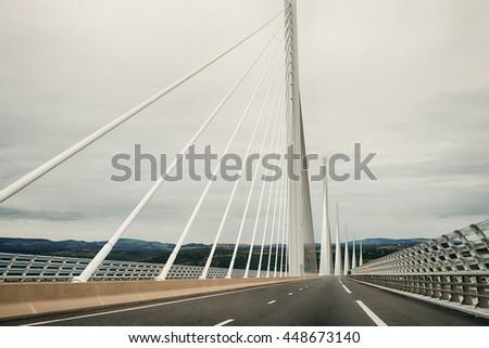 Bourgogne, France - September 25, 2015: Millau Bridge Viaduk Summer France - stock photo