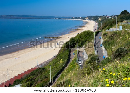 Bournemouth Beach to Sandbanks from the Zigzag cliff path. - stock photo