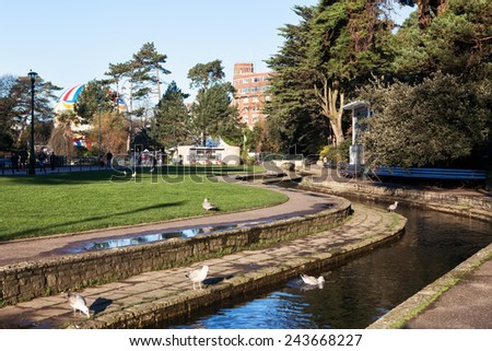 BOURNEMOUTH, ENGLAND - DECEMBER 21, 2014: Lower Gardens in Bournemouth town centre. The Lower Gardens play host to many events and attractions