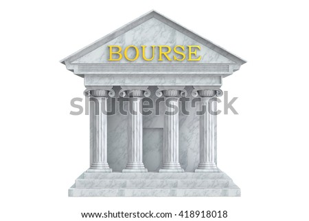 Bourse building with columns, 3D rendering