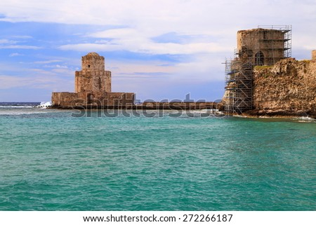 Bourtzi bastion and old Venetian fortress near the Ioanian sea, Methoni, Greece