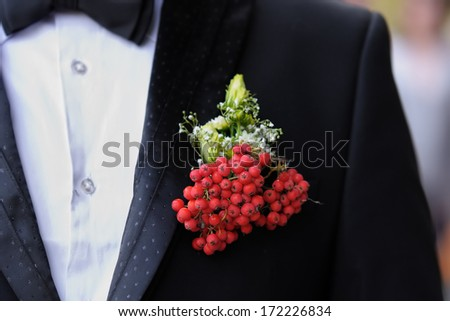 Boutonniere groom  - stock photo