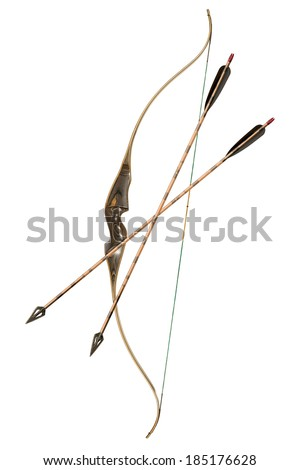 Bow and Arrows Classic 2 isolated on white - stock photo