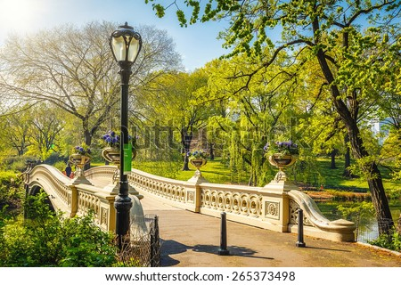 Bow bridge in Central park at sunny day, New York City - stock photo
