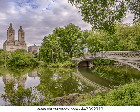 Bow bridge in the early morning in Central Park, New York City - stock photo