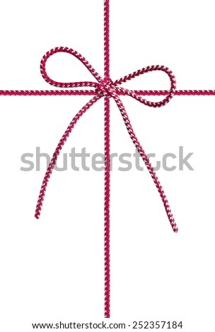 Bow from a red cord on the white - stock photo