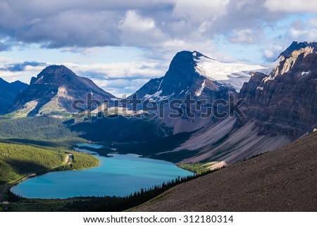 Bow Lake and Medicine Bow Peak in Banff National Park, Canada. - stock photo