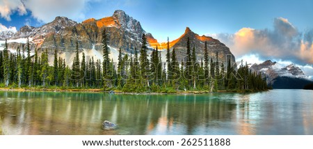 Bow lake in Banff National Park, Canada,  icefieldroad - stock photo