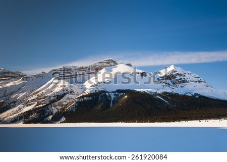 Bow Lake in winter, Banff National Park Alberta Canada - stock photo