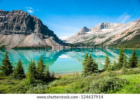 Bow Lake Panorama at the Icefield Parkway in Banff National Park, Alberta, Canada - stock photo