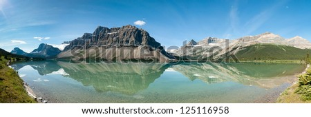 Bow Lake Panorama in Banff National Park, Canada - stock photo