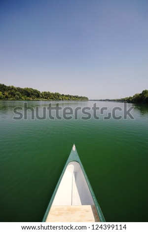 Bow of a canoe on the river Sava near Belgrade , Serbia, canoeing concept
