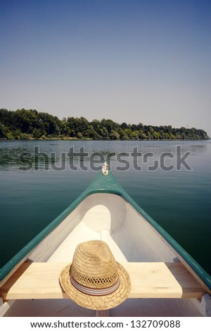 Bow of a canue on the river Sava near Belgrade , Serbia, canoeing concept - stock photo