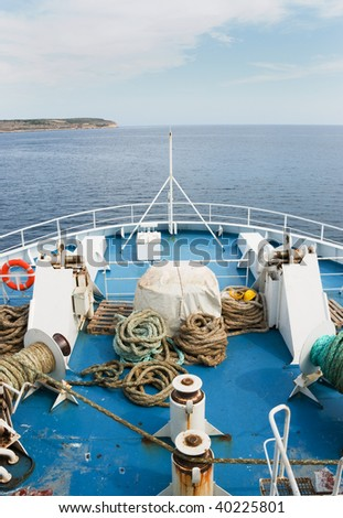 Bow of a Ferry Ship as it heads out to sea. - stock photo
