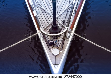 Bow of a sailboat - stock photo