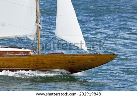 Bow of an old sailboat - stock photo