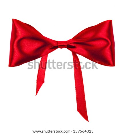 bow of red ribbon on white background