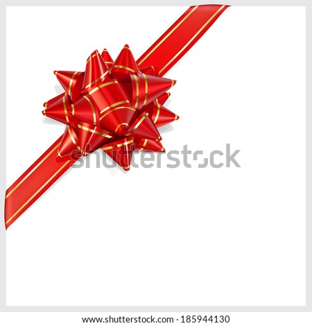 Bow of red ribbon with gold stripes with shadow on white background. Located diagonally. Raster version.