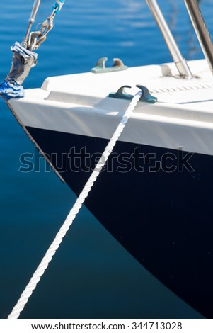 Bow of sailboat at moorage