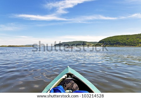 Bow of the boat and the landscape with blue sky. The Volga River. Samara. - stock photo