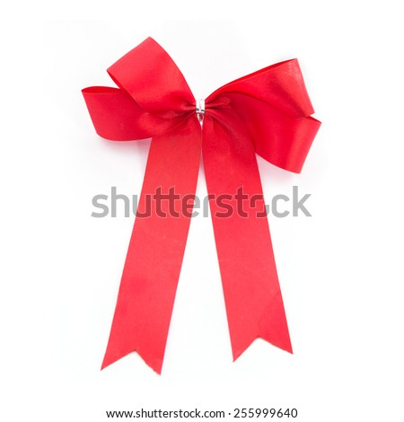 Bow Red for gift made from ribbon - stock photo