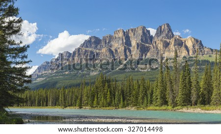 Bow River and Castle Mountain Banff National Park in Alberta Canada - stock photo