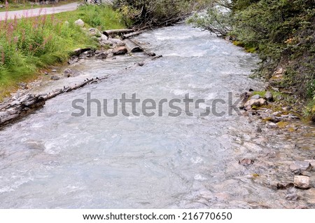Bow River Bow Fall in Banff National Park, Alberta, Canada - stock photo
