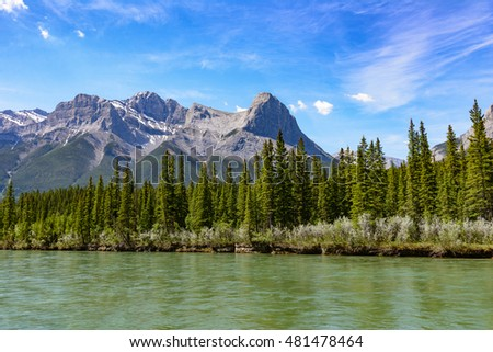 Bow river, mountains and forest near Canmore, Canadian rockies, Alberta