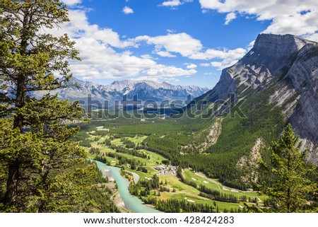 Bow river valley view with the golf courses. Rocky Mountains. Banff National Park. Alberta. Canada