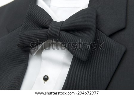 bow tie with shirt and suit closeup