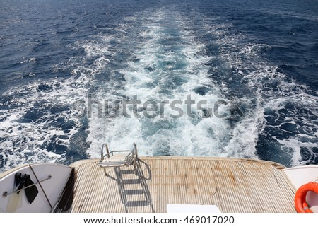 Bow wave of fast motor boat