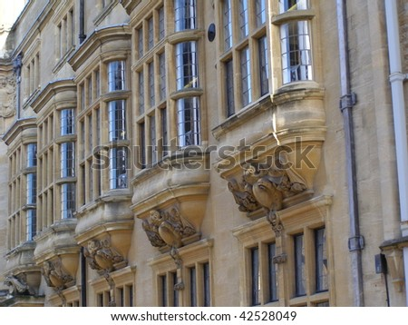 bow windows in a Oxford college - stock photo