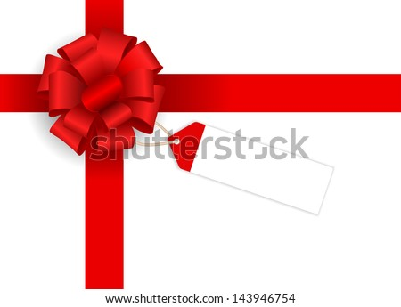 bow with ribbon and price tag - stock photo